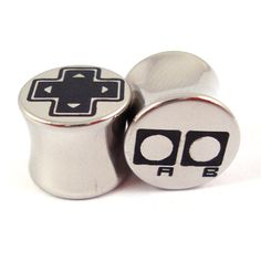 OldSchool Gamer Double Flared Plugs  Stainless Steel  by KCsGlass, $19.75