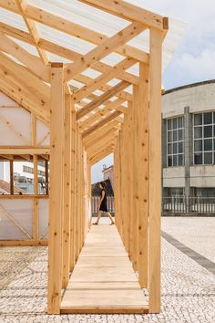 Image 16 of 47 from gallery of Temporary Home for Walk&Talk Festival / Mezzo Atelier. Courtesy of Walk&Talk Timber Architecture, Vernacular Architecture, Futuristic Architecture, Timber Structure, Timber House, Roof Light, Patio Roof, Temporary Structures, Wood Construction