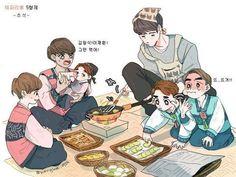 cute fanart of VIXX on chuseok as a family!