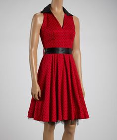 Look at this #zulilyfind! Red & Black Polka Dot Sleeveless Dress by HEARTS & ROSES LONDON #zulilyfinds