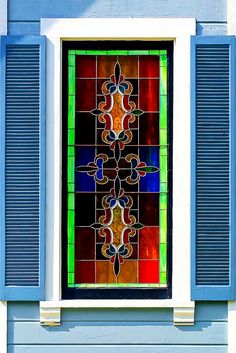 Stained glass window, Angelino Heights, Los Angeles, California