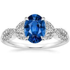 Blue Sapphire Ribbon Engagement Ring - 18K White Gold