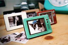 Retro Television Photo Frame Red / Mint by DubuDumo on Etsy
