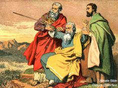 Aaron of the Bible | Exodus 17 Bible Pictures: Aaron and Hur raising Moses' hands