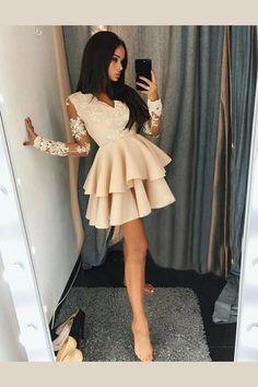 Dazzling V Neck Prom Dresses, A-Line Homecoming Dresses, Long Sleeves Prom Dresses, Prom Dresses Lace - dress Long Sleeve Homecoming Dresses, Prom Dresses With Sleeves, Sexy Dresses, Cute Dresses, Beautiful Dresses, Evening Dresses, Formal Dresses, Dress Prom, Dresses With Lace