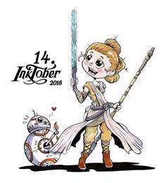 14. Inktober 2016 – Rey Star Wars BB8, Star Wars, Chibi, Inktober