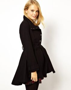 $82.69 Coat by ASOS Collection - Made from a soft wool blend. - Funnel neckline. - Asymmetric press stud placket. - High waist with a matching tie belt. - Soft swing pleats and dipped back hem. - Flattering, fit and flare shape. - Regular fit.