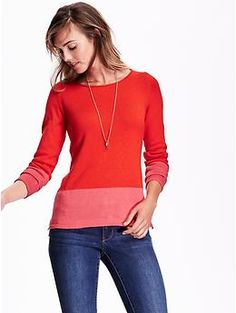 Classic Lightweight Sweater | Old Navy  Cute color blocking