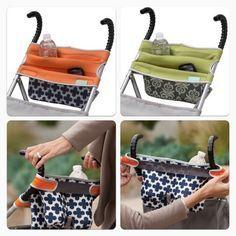 Acessório adaptável ao carrinho do bebê, serve como: porta-mamadeira, levar a fralda extra, enfim super prático.