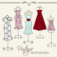 INSTANT DOWNLOAD - Vintage Mannequins - Clip art for commercial and personal use.
