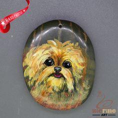 Unique  Pendant Hand Painted Dog Natural Gemstone   ZL806093 #ZL #Pendant