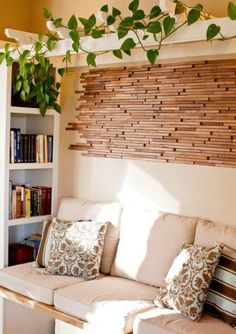 Love the arbor indoors & upcycled wood wall tiles.