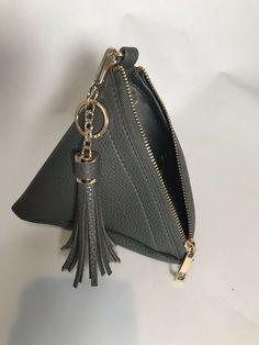 51fa774b790644 Leather Grey Purse Triangle Cube Shaped  fashion  clothing  shoes   accessories  womensbagshandbags (ebay link)