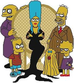 Cross Stitch PATTERN COLOR Simpsons Addams Family Gomez Homer Bart Halloween