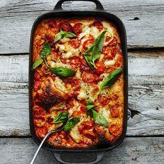 """Lasagne """"pronto"""" med tomat, chark och basilika"""