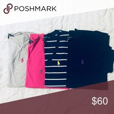 Polo T-Shirt Lot 4 Polo t-shirts: 1 XS grey v-neck  1 M pink v-neck 1 M navy striped knit v-neck 1 M black crew neck ~can be sold separately~ Ralph Lauren Tops Tees - Short Sleeve