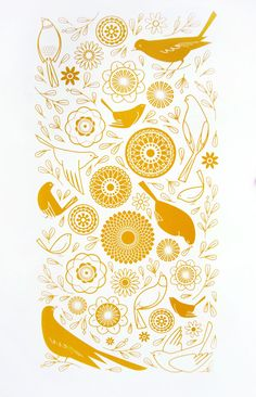 Feathers and Flora (mustard) - Sally Elford
