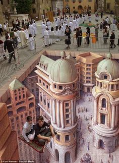 "One of my favorites by a 3d artist Kurt Wenner. He does some of the world's most amazing 3d pavement art (check out his site at http://www.kurtwenner.com/ ... his galleries are hard to ""pin"" so I just used the link to the article instead)"