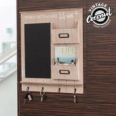 Wall Mount Organiser Key Mail Rack Holder Hallway Letter Chulkboard Home Hook pc  | eBay