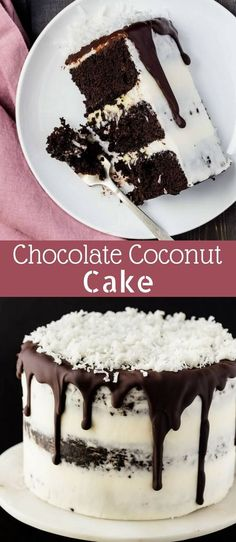 Made from scratch Chocolate Coconut Cake that is layered with coconut pastry cream and covered in coconut buttercream frosting. via @introvertbaker