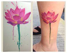 My lotus watercolor tattoo! Tattoos by Eddie.