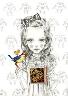 Mechanical Heart art print  limited edition by JulieFilipenko, ₪110.00