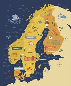 Gatherings: What Is Scandinavia? Scandinavian Gatherings: What Is Scandinavia? - Lulu the BakerScandinavian Gatherings: What Is Scandinavia? - Lulu the Baker Travel Maps, Travel Posters, Denmark Facts, Pictorial Maps, Scandinavian Countries, Fjord, Helsinki, Trip Planning, Stockholm