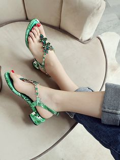 OMG Women's Green Gem Embellished V-shaped Ankle Strap Leather Sandals #elegantshoegirl #shoes #ankle  #boots #flats #fashions #womens