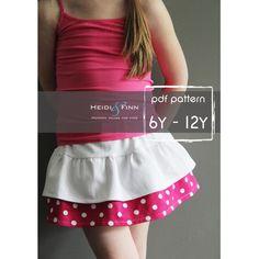 Tennis skort pattern and tutorial PDF 6y-12y easy sew skirt shorts uniform by heidiandfinn on Etsy https://www.etsy.com/listing/153817750/tennis-skort-pattern-and-tutorial-pdf-6y
