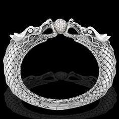 John Hardy Naga Dragon Sterling Silver Bracelet with Pave Diamonds
