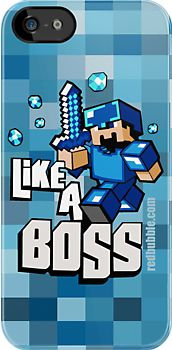 Blue Teal Minecraft 8bit Game Like A Boss apple iphone 3, 4 4s, 5 ipod 4 case