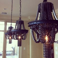 Chandeliers made from recycled bicycle chains #design