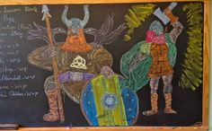 Waldorf ~ 4th grade ~ Norse Mythology ~ Odin and Thor ~ chalkboard drawing