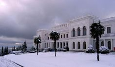 A rare snowfall blankets the Livadia Palace in the Crimea. Tsar Nicholas II built this palace.  The Russian Imperial family along with members of Russia's aristocratic and noble families favoured the region for its Mediterranean climate and stunning natural beauty. Here they built beautiful palaces and elegant mansions overlooking the Black Sea. When the Revolution swept across Russia, it was the isolation of the region that allowed many of them to escape the advancing Red Terror into exile.