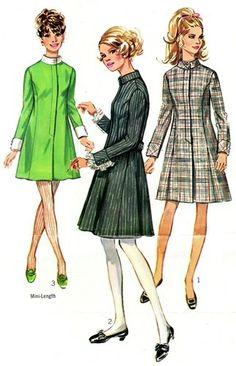 """Simplicity 7847 Blue Ribbon """"Coat"""" Dress 1968"""