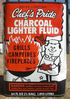 Old Kroger Chef's Pride Charcoal Lighter Fluid Tin Vintage Ephemera, Retro Vintage, Bar B Q, Lighter Fluid, Vintage Packaging, Greggs, Natural Life, Retro Futurism, Life Photo