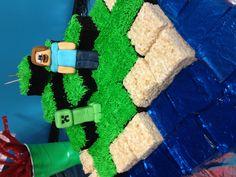 Mine craft-b-day cake ( brownies, rice Kristine's and jello.) #minecraft