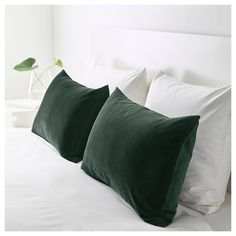 Full Product Info - IKEA - SANELA, Cushion cover, dark green, Cotton velvet gives depth to the color and is soft to the touch. The zipper makes the cover easy to remove. Green Velvet Pillow, Green Throw Pillows, Green Cushions, Velvet Cushions, Owl Pillows, Burlap Pillows, Cushions On Bed, Decorative Pillows, Green Pillow Covers