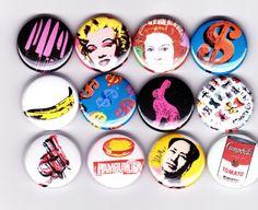 Andy Warhol badges  set of 12  POP ART campbells by YouCantGoBack