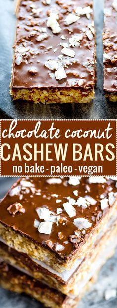 No bake Chocolate Coconut Cashew Bars made in 3 easy steps! These no bake chocolate bars are vegan, paleo, and gluten free. Perfect for snacking on the go or a healthy dessert. No oils, no flours, simple wholesome ingredients! no bake paleo dessert Raw Desserts, Paleo Dessert, Healthy Sweets, Healthy Baking, Dessert Bars, Chocolate Desserts, Cake Chocolate, Baking Chocolate, Vegan Chocolate Bars