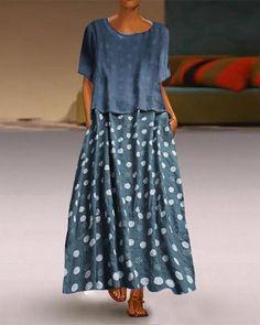 Women's 2020 Maxi Yellow Blue Dress Plus Size Abaya Spring Summer Holiday Vacation Casual / Daily Loose Polka Dot Print L XL Loose - Mode femme - - Petites Annonces Polka Dot Two Piece, Polka Dot Print, Polka Dots, Manga Floral, Cheap Dresses, Short Sleeve Dresses, Short Sleeves, Casual Dresses, Half Sleeves