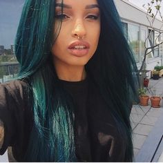 Buy virgin human hair wig from divas wigs store best wig supplier on… Pretty Hairstyles, Wig Hairstyles, Straight Hairstyles, Wedding Hairstyles, Updo Hairstyle, Dark Teal Hair, Blue Hair, Deep Teal, Blond