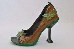 Prada patent leaf applique peep toe heel, F/W 1999