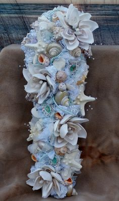 Bridal Bouquets Water Aqua And C Handmade Seashell Flower By Slycreationsbouquets