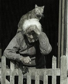 Vintage pic of Elderly lady with Cat.....Su Unica Compañia Iresponsabilidad Pensemmos en esto