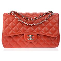 Pre-owned Chanel Red Lambskin Leather 12A Jumbo Double Flap Bag ($4,000) ❤ liked on Polyvore featuring bags, handbags, lamb leather handbag, preowned handbags, red bag, lambskin handbag and lambskin bag