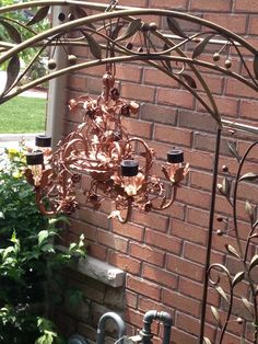 Garden chandelier with solar lights