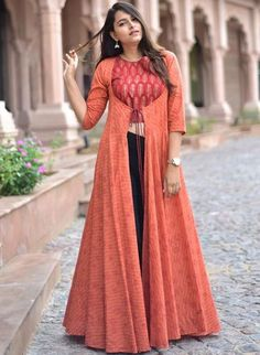 Copper hand block printed crop top in rayon with block printed flared cape Indian Fashion Dresses, Indian Gowns Dresses, Dress Indian Style, Indian Designer Outfits, Indian Outfits, Designer Dresses, Fashion Wear, Designer Wear, Kurti Neck Designs