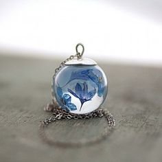 925 Schwebende Blaue Blüten Kette Sterling Silber