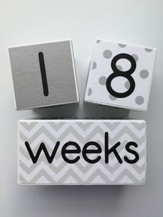 Weekly, Monthly,Yearly and Now with Grade Rainbow Wooden Milestone Age Blocks Perfect Baby Shower Gift and Keepsake Baby Age Photo Blocks